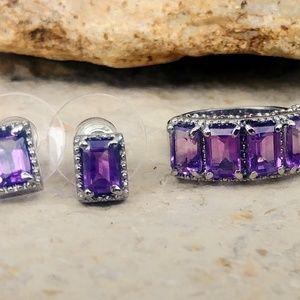Amethyst Earrings and Ring Set